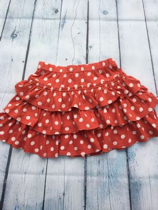 Mini Boden red spotty tired skirt age 4-5